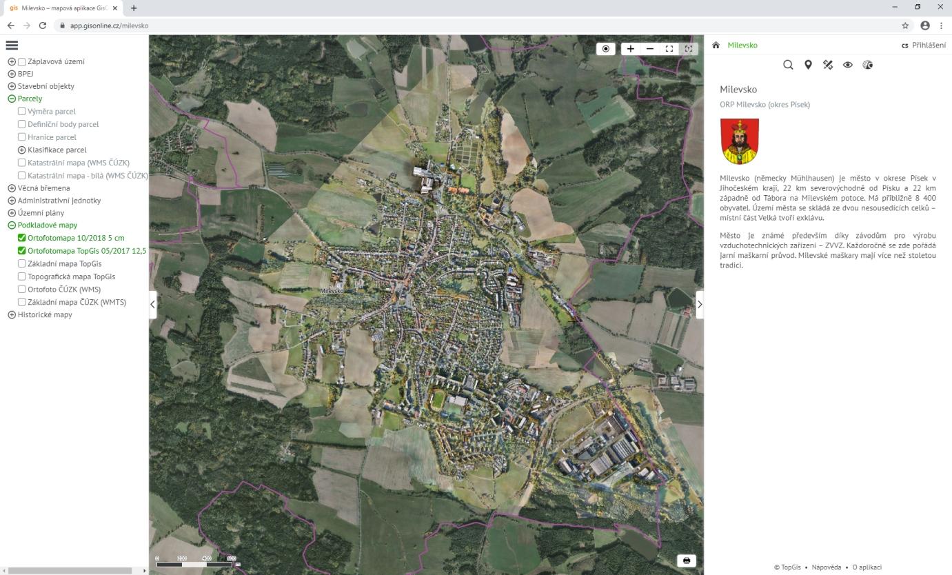 Náhled na okno mapové aplikace GisOnline